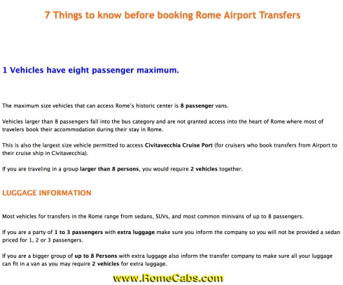 7 Things to know before booking Rome Airport Transfers